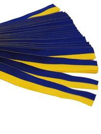 Sverigeband i bomull, blå/gult, i bunt