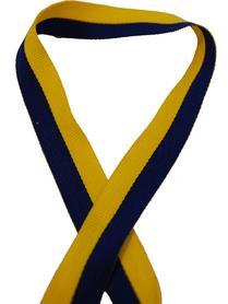 Sverigeband i bomull, blå/gult, per meter